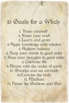 13 goals of a Witch...good list