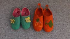 Watermelon Felted slippers New Zealand wool houseshoes felt slippers warm pure wool comfy cute slippers Made to order FeltSoapGood on Etsy, $35.00