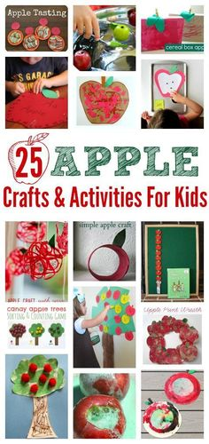 An amazing list of apple crafts and activities for tot school, preschool, kindergarten or just for family fun!!