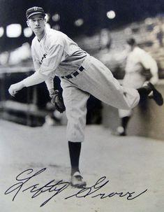 "Robert Moses Groves ... ""Lefty"" ... Philadelphia Athletics (1925-33), Boston Red Sox (1934-41) = Career = Pitching: 300-141, 3.06 ERA, 298 CG, 35 SHO, 1187 BB/2266 K"