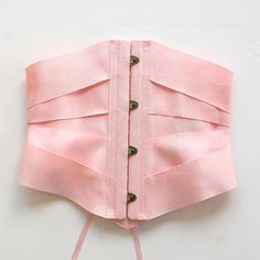Ribbon Corset Lingerie Cincher Belt Waspie / Pink Blush Petersham Antique - PETERSHAM RIBBON CORSET Ready-to-Ship #SpringinMay