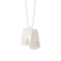 This Dog Tag Necklace with Four Names is perfect for the large family. Who Says mom jewelry can't be stylish? Comes in gold and silver. Shop MyRetroBaby now