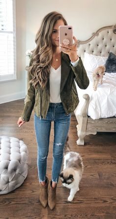 Olive suede jacket from the Nordstrom Anniversary Sale. I NEED IT Casual Fall Outfits You Must Buy Now. Women's Fashion. Chic And Comfy Casual Fall Outfits, Fall Winter Outfits, Autumn Winter Fashion, Trendy Outfits, Cute Outfits For Fall, Fall Fashion Outfits, Winter Clothes, Winter Wear, Cute Fall Clothes