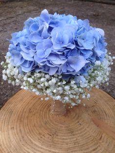 Hydrangea & Gypsophila Wedding Bridal Bouquet. Blue and white colour scheme