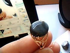 LIGHTENED Blue Tigers Eye Bead Ring Gold/Silver Custom by Lilyb444, $24.00
