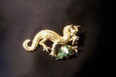 Signed Jade Dragon Vintage Brooch P721 by JewelsAndMyGirls3, $12.50