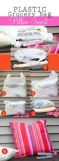 plastic grocery bag pillow insert