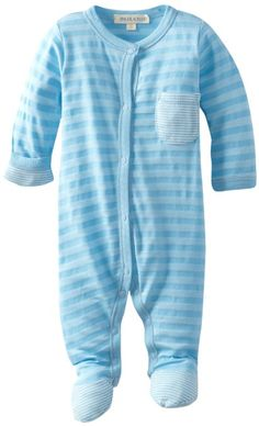 PAIGELAUREN Unisex-Baby Newborn Footie Romper $34.50  50% Supima Cotton/50% Micro Modal; Contrast: 50% Polyester/25% Supima Cotton/ 25% Micro Modal Soft, soft-er,soft-est, smooth and agreeable to the touch, wide-stripe with small contrasting mini-stripe breast pocket and bottom of foot, with matching nickel free/lead free snaps with pl label Made in USA