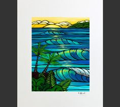 Sunset Swell - Matted Print on Paper (Mat Only) by Hawaii surf artist Heather Brown