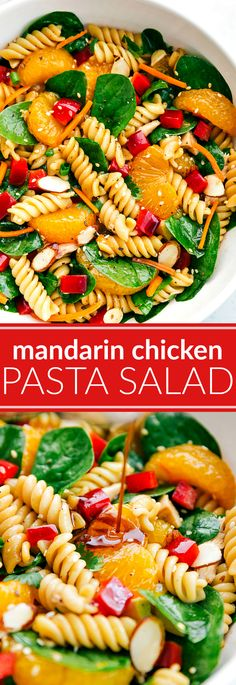 Mandarin Chicken Pasta Salad I The ultimate BEST EVER Asian Pasta Salad! Mandarin, chicken, almond pasta salad with the BEST sesame dressing! via chelseasmessyapron.com