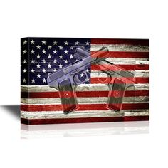 wall26 - Canvas Wall Art - Two Hand Guns on American Flag Background - 24x36 #wall26