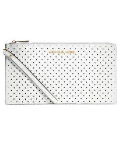 MICHAEL Michael Kors Handbag, Jet Set Travel Perforated Zip Clutch