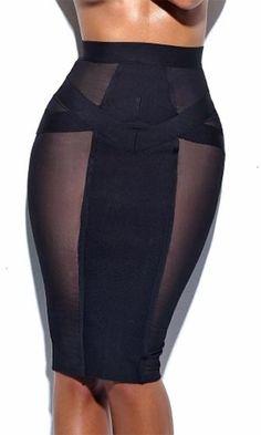 Show Time Black Sheer Mesh High Waist Bodycon Bandage Midi Skirt - ImPane Big Girl Fashion, Curvy Fashion, Fashion Looks, Women's Fashion, Sexy Dresses, Casual Dresses, Black Skirt Outfits, 70s Fashion Pictures, Sheer Socks