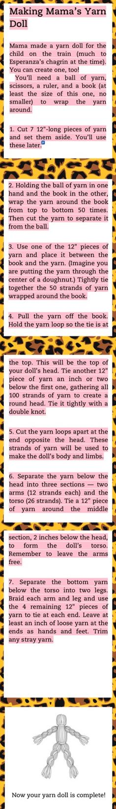 How to make a yarn doll *from Esperanza Rising*