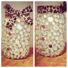DIY a mason jar with cheetah ribbon and rhinestones
