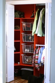 Beau Foyer Closet With A Splash Of Red Entryway Closet, Front Closet, Entry  Closet Organization