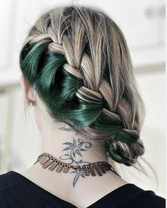 Diagonal French braid in blonde and the most gorgeous forest green!!!  Love!!!