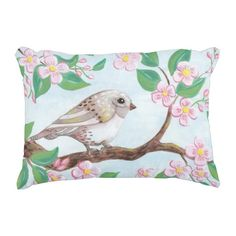 Bird with pink flowers pillow