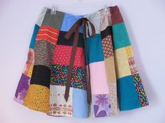 Patchwork Skirt Hippie Skirt Drawstring Vintage by jclairep