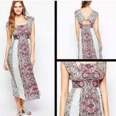 Free People Mayan Temple Maxi Dress Free People Mayan Temple maxi dress. Super soft!!! Gorgeous color... Soft sage green and burgundy. Cutout back. Flowy and so easy to wear. Brand new without tags. Size 0. Runs big like most FP. ❌ NO TRADES ❌ NO LOWBALLING ❌ Free People Dresses Maxi