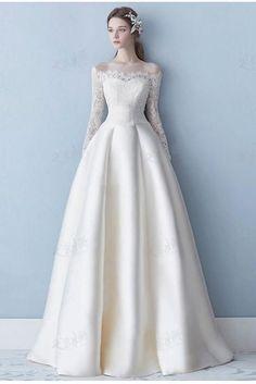 Elegant Off the Shoulder Long Sleeve Satin A Line Lace Plus Size Wedding Dress OK638 - #dress #Elegant #lace #line #long #OK638 #Satin #Shoulder #Size #sleeve #wedding