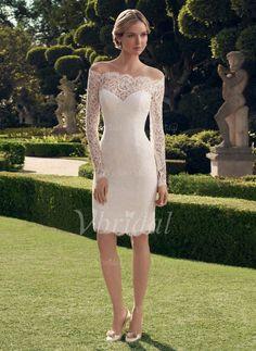 Robes de mariée - $130.27 - Forme Fourreau Epaules nues Longueur genou Dentelle Robe de mariée avec Motifs appliqués Dentelle (00205003284)