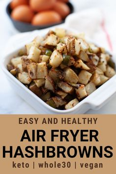 These air fryer hash browns use a mix of diced potatoes, pepper, onion and spices to create a great healthy side dish for breakfast or for any time of the day using your air fryer or Ninja Foodi. Use these breakfast potatoes in the morning, or as a hearty dinner side dish.