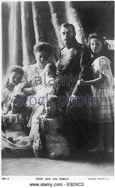 Russian Imperial Romanov Family, Nicholas II and Alexandra with Children, Portrait, circa 1905 - Stock Image