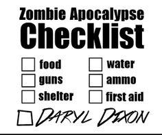 Zombie Apocalypse Checklist  4.5 Inch Vinyl by CenterMassDesigns, $9.00