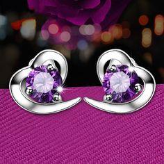 Purple Rhinestone Stationed Heart Stud Earrings