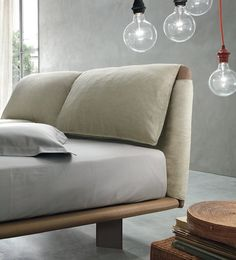 Leather double #bed with upholstered headboard CUDDLE - @alivarsrl