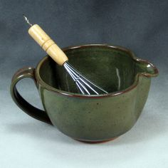 stoneware handthrown bowls | Small Green Batter Bowl With Whisk Handthrown Stoneware Pottery 5