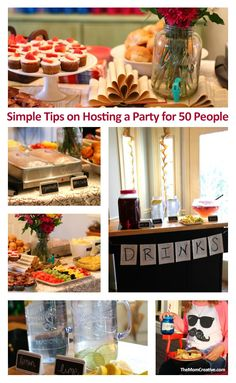 Simple tips on hosting a party for 50 people - from food planning to decor, this post is a great party resource. Party Planning, Meal Planning, Host A Party, Party Food For 50 Guests, Anniversary Parties, Anniversary Ideas, Wedding Anniversary, Birthday Dinners, Throw A Party