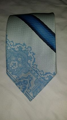 "Vintage Monsieur Cravatieur blue polyester  tie 58"" L 4"" W #Tie"