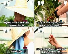 Hyuk comparing N to a strawberry...
