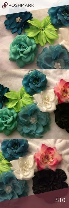 Lot of 8 Large Hair Flowers These beautiful eight hair flowers will make a lovely addition to your hair accessory collection! All have a clip on the back for easy styling, and all but two have a pin for attaching for flower to a scarf, top, or purse. There are four real/blue green flowers, one lime green, one lovely pink, one black, and one white. Accessories