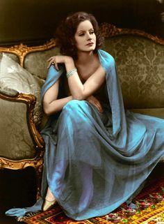 Greta Garbo. Colored photo 1936