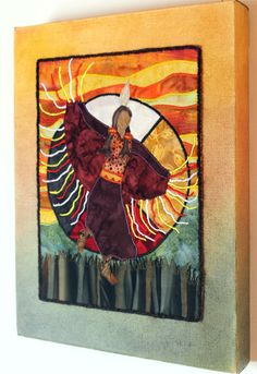 Native American Fancy Shawl Dancer, medicine wheel, art quilt on canvas. $120.00, via Etsy.