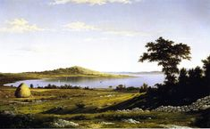 """""""Rhode Island Shore"""", Martin Johnson Heade, 1858, Oil on canvas, 20.25 x 32.25"""", Los Angeles County Museum of Art. It is believed the location shown in the painting is in Bristol, RI."""