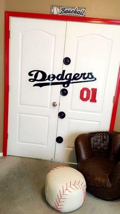 LA Dodgers Jersey Doors decor Handmade, cute for college choice Baseball Dugout, Baseball Girls, Boy Sports Bedroom, Baby Boy Rooms, Dodgers Girl, Dodgers Party, Locker Designs, Basement Designs, Baseball Room Decor
