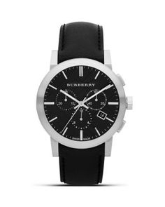 BURBERRY Black Leather Strap Watch, 42Mm. #burberry #42mm