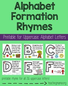 Alphabet Formation Rhymes-free printable for home or classroom