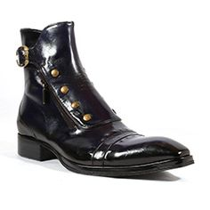 Jo Ghost Italian Mens Shoes Inglese Blu Navy Plato Leather Boots (JG2101)