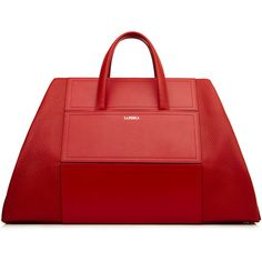La Perla Bags Calfskin Leather Weekend Bag ($2,363) ❤ liked on Polyvore featuring bags, red, overnight bag, calfskin bag, weekend bag, red bag and weekender bag