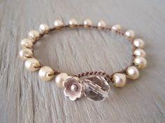 Pearl crochet bracelet slashKnots Stackers 'UpTown Girl' bohemian, cream pearl, Thai silver flower, bridal, boho chic, classic, unique gift