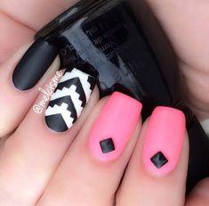 Awesome Pink And Black Nails With Black Rhinestones #naildesigns #blacknails #cutenails