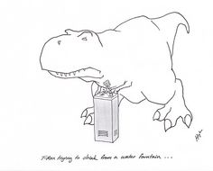 T-Rex Trying to Drink from a Water Fountain…