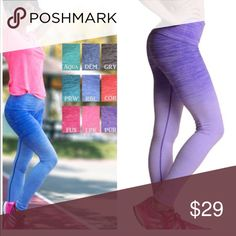 Ombré High Waist Tummy Control Leggings Nwt best selling high quality style Ombré lounge leisure leggings . Colors are denim blue and fuschia. Great quality with fantastic tummy control . Vivacouture Pants Leggings