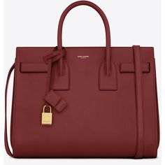 Saint Laurent Classic Small Sac De Jour Bag In Oxblood Leather ($2,750) ❤ liked on Polyvore
