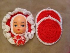 Crocheted Vintage Handmade Doll Face Wall Hanging Orange & White 2 Trivets